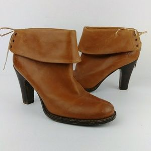 Bronx Cognac Leather Booties Heeled Cuffed Lace-Up